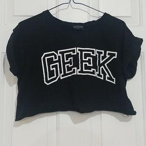 Topshop GEEK Cropped Rolled Sleeve Tshirt